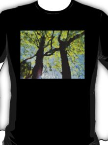 Springtime Morning With Twin Forest Trees  T-Shirt