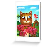 Cat in the Echinacea  Greeting Card