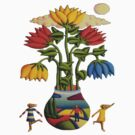 Flowers and figures by moonlight by Alan Kenny