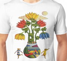Flowers and figures by moonlight T-Shirt