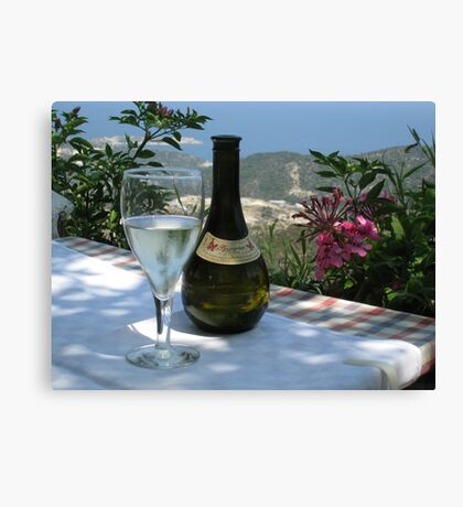 Greek Islands Santorini and wine Canvas Print