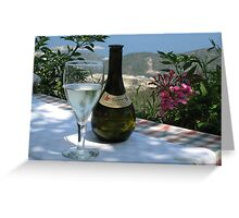 Greek Islands Santorini and wine Greeting Card