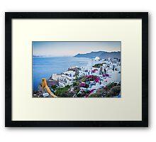 Greek Islands Santorini and wine Framed Print