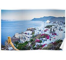 Greek Islands Santorini and wine Poster
