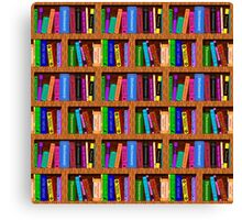 Library Bookshelf Background Pattern for Readers Canvas Print