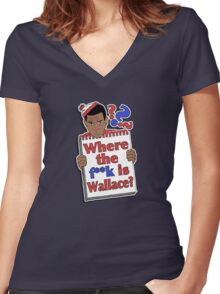 Where the F**k is Wallace? Women's Fitted V-Neck T-Shirt