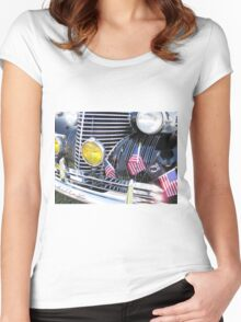 Patriotic 1940 Cadillac American Flag - Brightwork  Women's Fitted Scoop T-Shirt