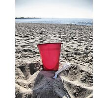 At The Beach.....Red Pail Photographic Print