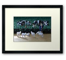 Although all of the animals agreed equally on the pasture rental terms, the sheep still felt they'd been fleeced. Framed Print