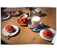 Summer Coffee and strawberry cake Poster