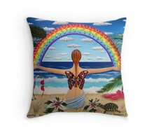 guardian of the rainbow - drosera weisse Throw Pillow