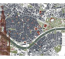 Seville city map engraving by PlanosUrbanos