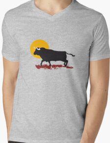 bull and sun Mens V-Neck T-Shirt