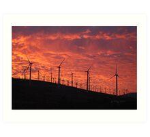 Malibu windfarm sunset-1 Art Print