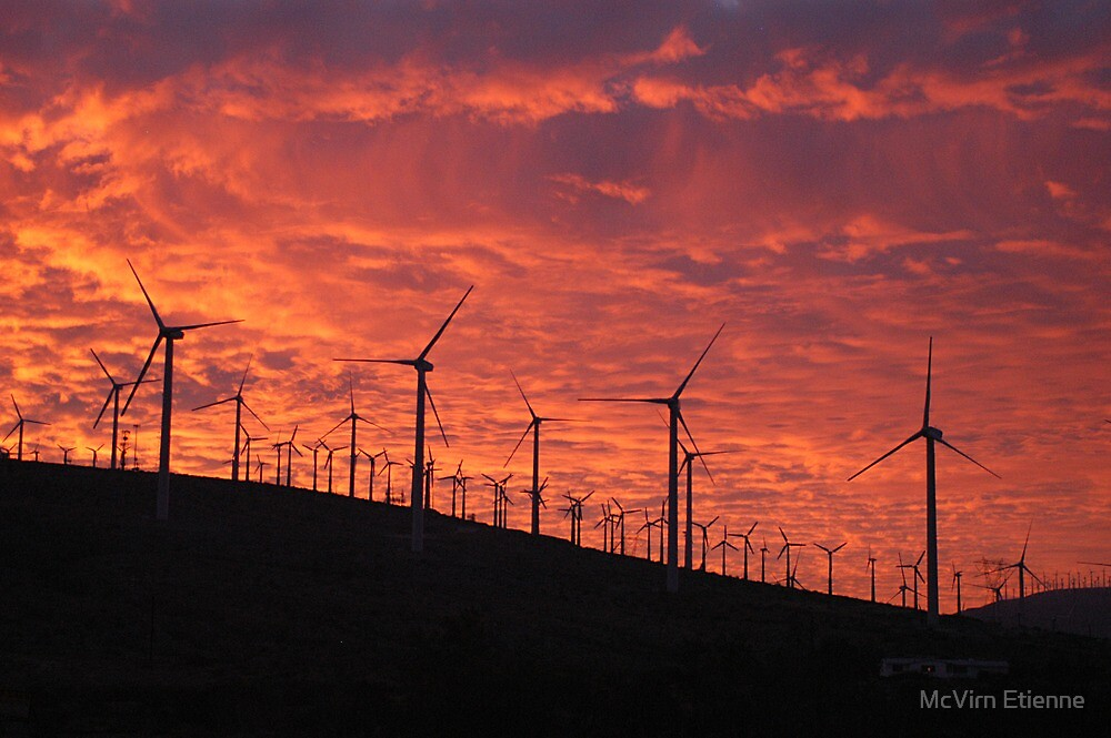 Malibu windfarm sunset-1 by McVirn Etienne