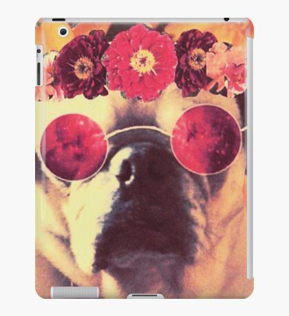 Flowered Hippie Pug iPad Case/Skin