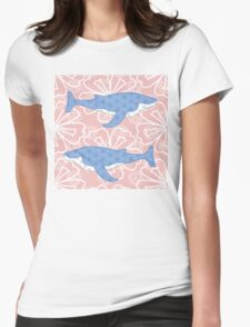 flower whale Womens Fitted T-Shirt