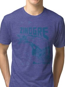 Monster Hunter- Zinogre Roar Design Blue Tri-blend T-Shirt