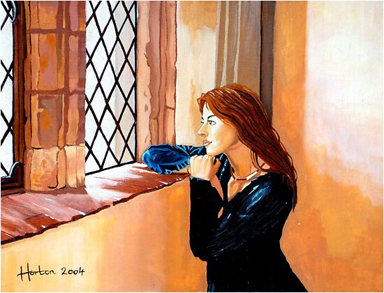 Girl looking through the window by Terry Horton