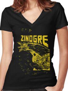 Monster Hunter- Zinogre Roar Design Yellow Women's Fitted V-Neck T-Shirt