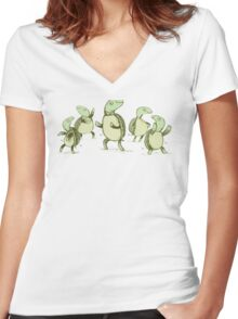 Dancing Turtles Women's Fitted V-Neck T-Shirt