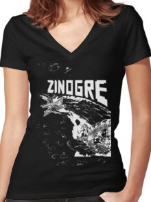 Monster Hunter- Zinogre Roar Design White Women's Fitted V-Neck T-Shirt