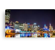 Melbourne City Skyline at Night Canvas Print