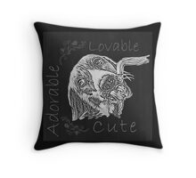 Chalk Drawing of Dog Drinking Water from Faucet  Throw Pillow