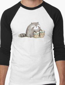 Raccoon on Bongos Men's Baseball ¾ T-Shirt