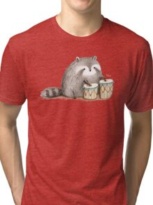 Raccoon on Bongos Tri-blend T-Shirt