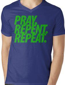 PRAY REPENT REPEAT GREEN Mens V-Neck T-Shirt