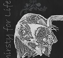Thirtsy for Life Drawing of Dog Drinking Water  by ArtistryByLM