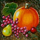 Pumpkin Still life- Wood Carving (Acrylics on wood) by Elaine Bawden