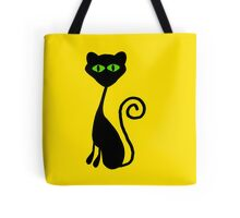 Green Eyed Silhouette Cat Tote Bag