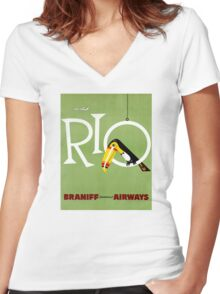 Rio Vintage Travel Poster Restored Women's Fitted V-Neck T-Shirt