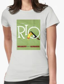 Rio Vintage Travel Poster Restored Womens Fitted T-Shirt