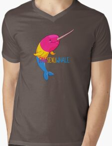Pansexuwhale - with text Mens V-Neck T-Shirt