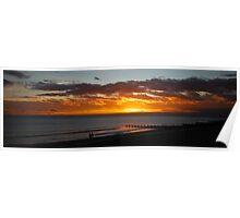 Sunset walk on the beach Poster