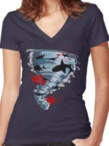 Shark Tornado - Science Fiction Shark Movie - Shark Attack - Shark Tornado Oh Hell No - Sharks! Women's Fitted V-Neck T-Shirt