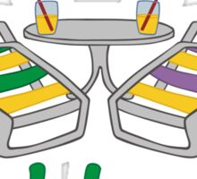 Funny Cool Beans in Beach Chairs and Shades Sticker