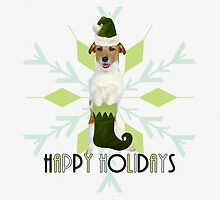 Jack Russell Terrier Holiday Dog by Doreen Erhardt