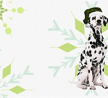 Dalmatian in a Santa Hat Holiday Dog by Doreen Erhardt