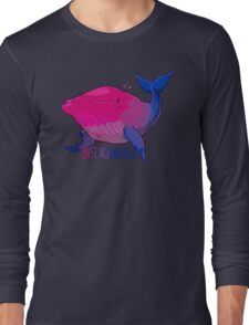 Bisexuwhale - with text Long Sleeve T-Shirt