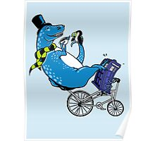Tandem T-Rex with Toucan and Tea while Tardis Toils Poster
