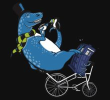 Tandem T-Rex with Toucan and Tea while Tardis Toils Baby Tee