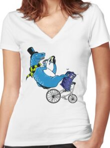 Tandem T-Rex with Toucan and Tea while Tardis Toils Women's Fitted V-Neck T-Shirt