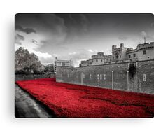 Tower Of London Poppies (Red on Black & White) Canvas Print