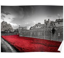 Tower Of London Poppies (Red on Black & White) Poster