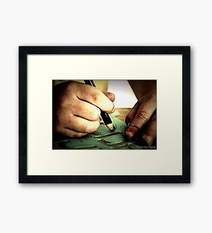 Little Artist Hands Hard at Play Framed Print