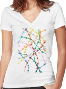 Trapped on White Women's Fitted V-Neck T-Shirt